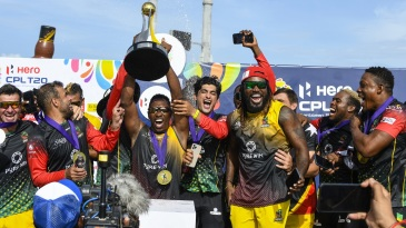 Dwayne Bravo and Chris Gayle celebrate St Kitts and Nevis Patriots' CPL 2021 title win