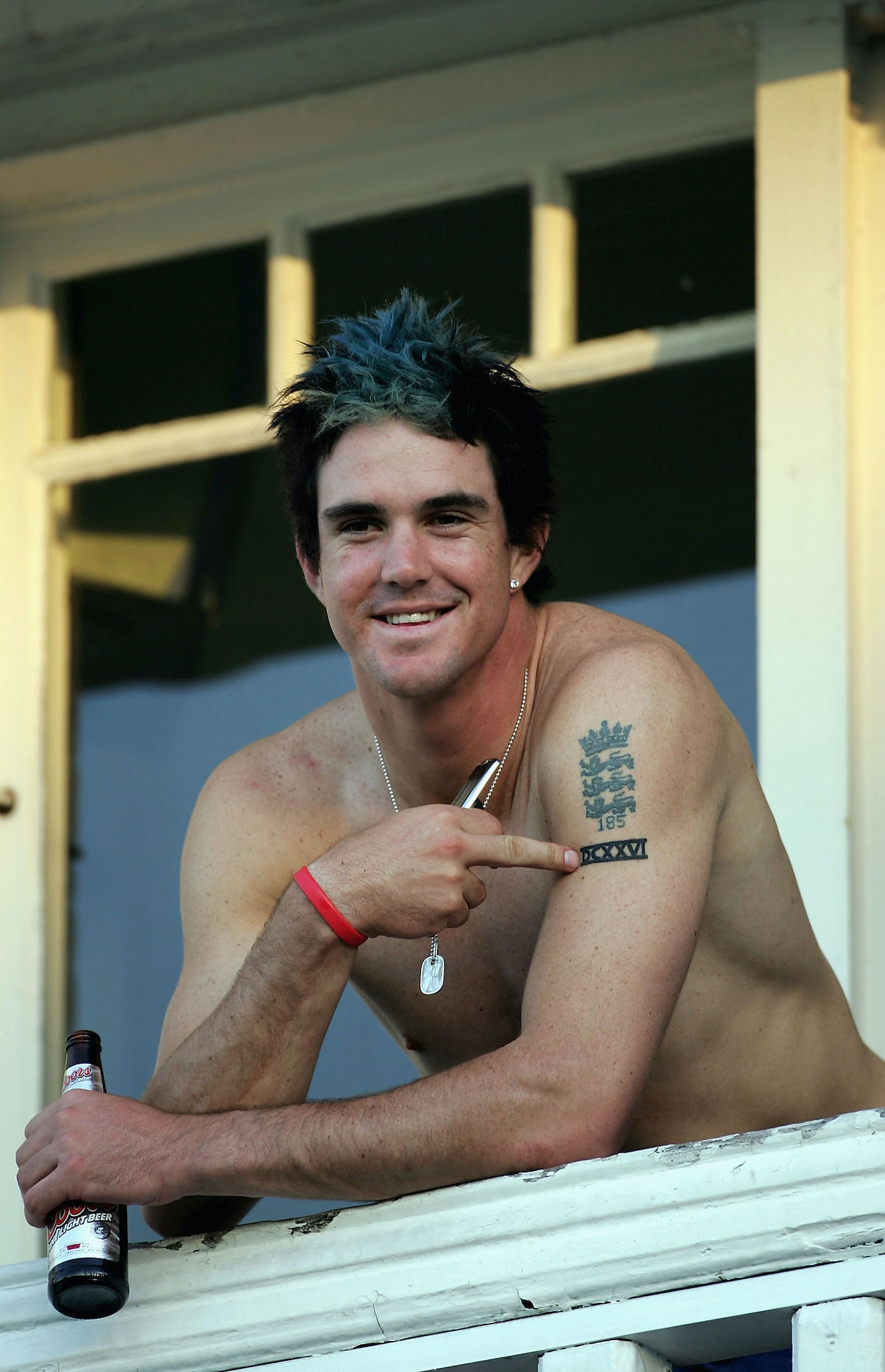 KP sported a blue faux-hawk for the fourth Ashes Test in 2005