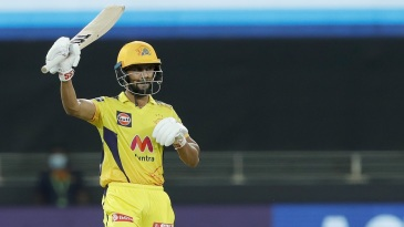 Ruturaj Gaikwad celebrates his half-century
