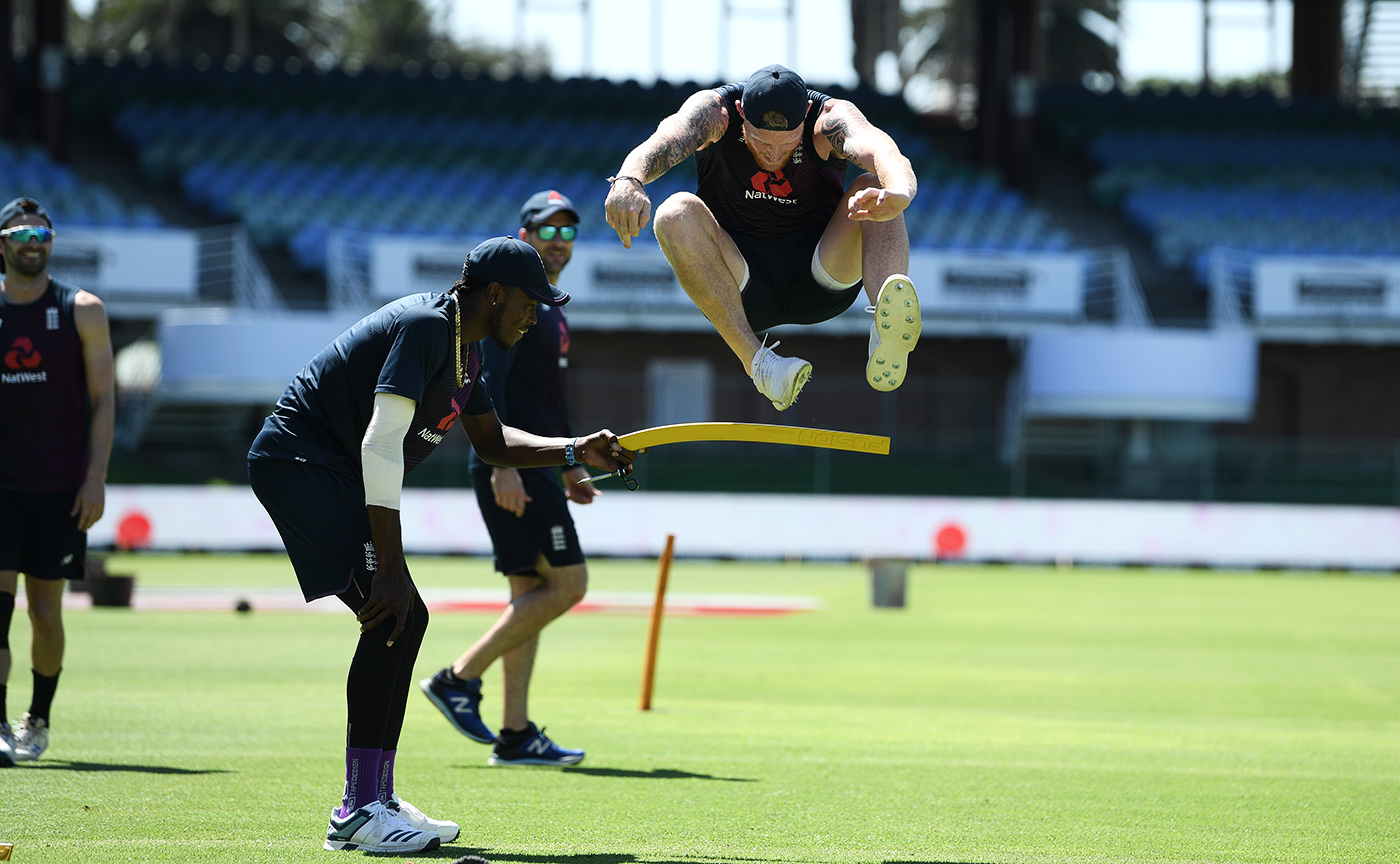 One giant leap: Ben Stokes jumps a hurdle during training