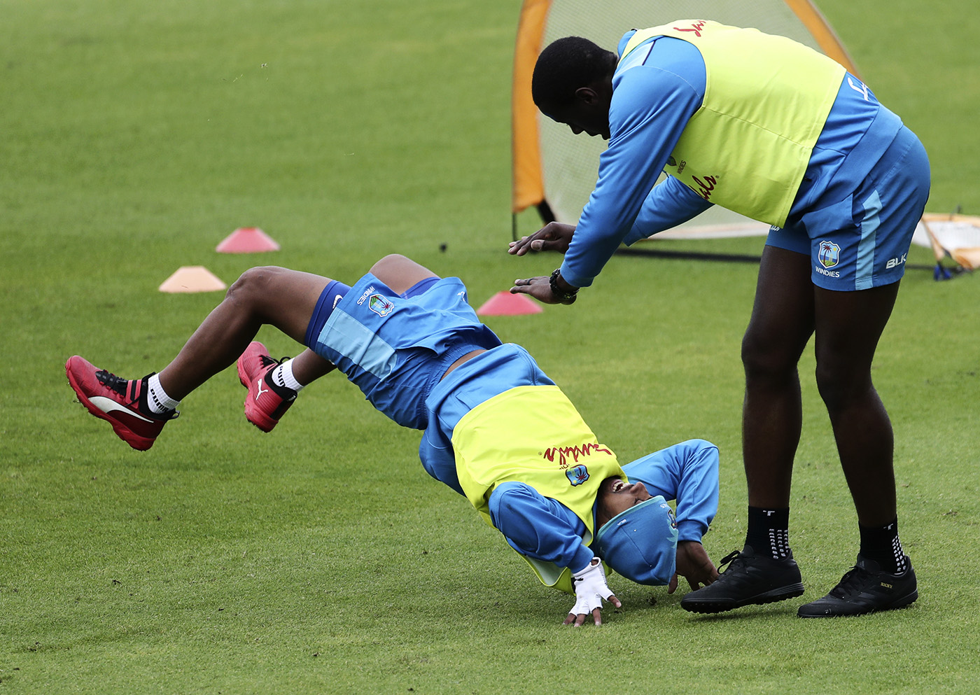 Nicholas Pooran at training with Carlos Brathwaite. Core strength is vital for players like Pooran, who need to clear the boundary at will