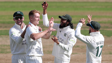 Nottinghamshire celebrate as Joey Evison makes another breakthrough