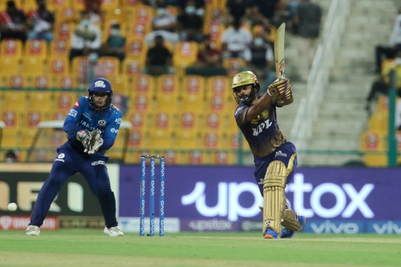 Rahul Tripathi frees his arms on his way to a fifty