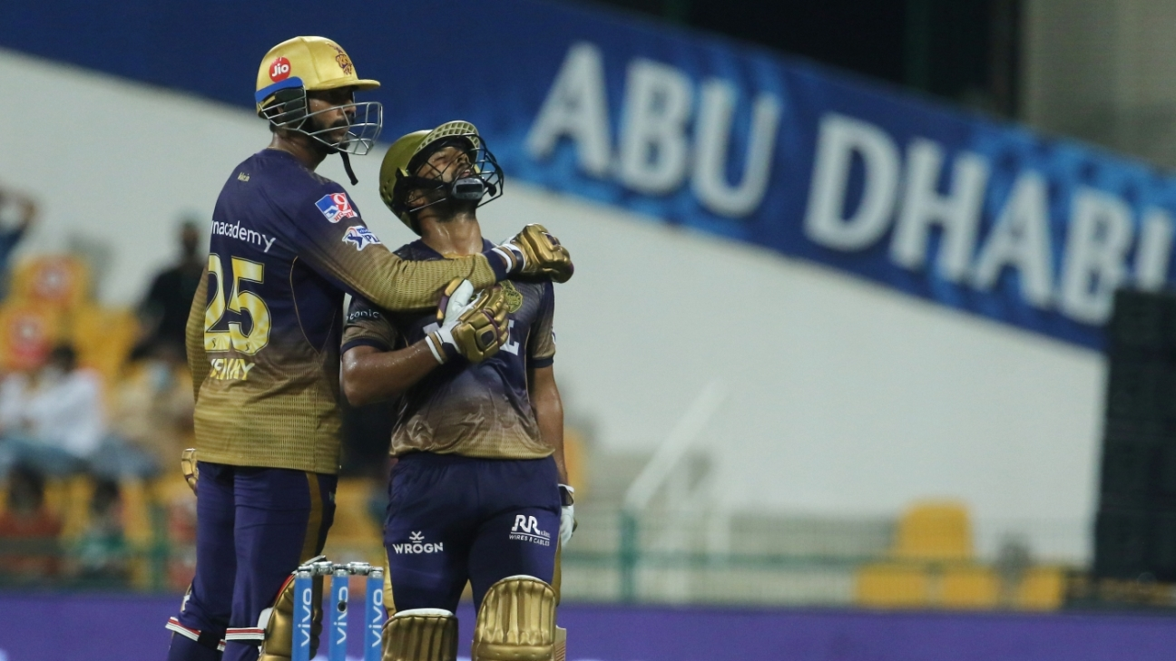 Rahul Tripathi gets a hug from Venkatesh Iyer after getting to a half-century