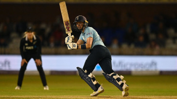 Heather Knight plays to the leg side during her match-winning knock