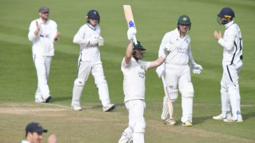 Ben Slater celebrates Nottinghamshire's final-day victory over Yorkshire
