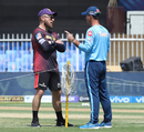 Brendon McCullum and Ricky Ponting catch up before the game, Kolkata Knight Riders vs Delhi Capitals, IPL 2021, Sharjah, September 28, 2021