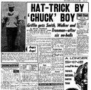 Geoff Griffin's hat-trick as reported by the <I>Daily Mirror</I>, June 25, 1960