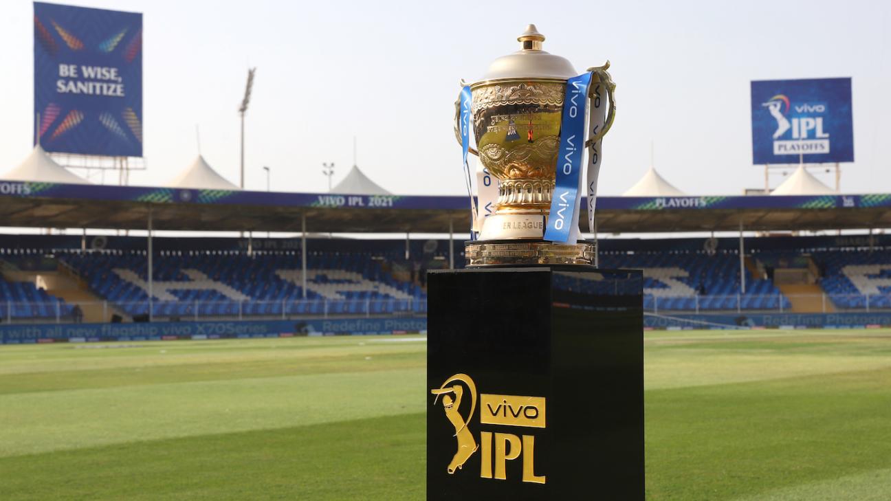 The IPL trophy on display in Sharjah