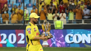 MS Dhoni with the IPL 2021 trophy
