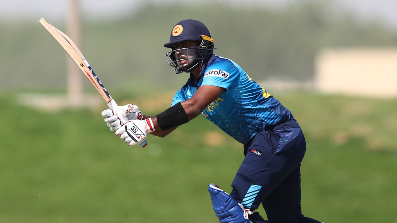 Avishka Fernando plays towards midwicket in the warm-up game against PNG