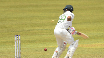 Najmul Hassan Shanto is bowled for a duck