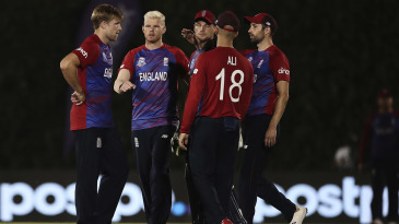 David Willey celebrates a wicket with his team-mates