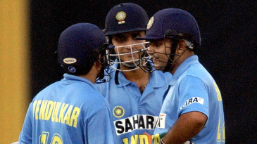 Sachin Tendulkar, Sourav Ganguly and Virender Sehwag have a discussion
