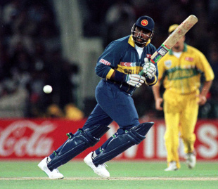 Gurusinha batting in the World Cup final in Lahore