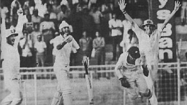 Maninder Singh protests at being given out lbw to Greg Matthews as the Test ends in a tie