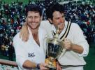 Robin Smith and captain Mark Nicholas hold the B&H Trophy at Lord's 1992.