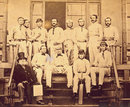 The England cricket team assembled at Lord's in London before leaving for the 1863 tour of Australia. Julius Caesar, Alfred Clarke, George Tarrant, George Parr, E M Grace, Robert Carpenter, George Anderson, William Caffyn; (bottom row) Robert C Tinley, Thomas Lockyer, Thomas Hayward, John Jackson, October 1, 1863