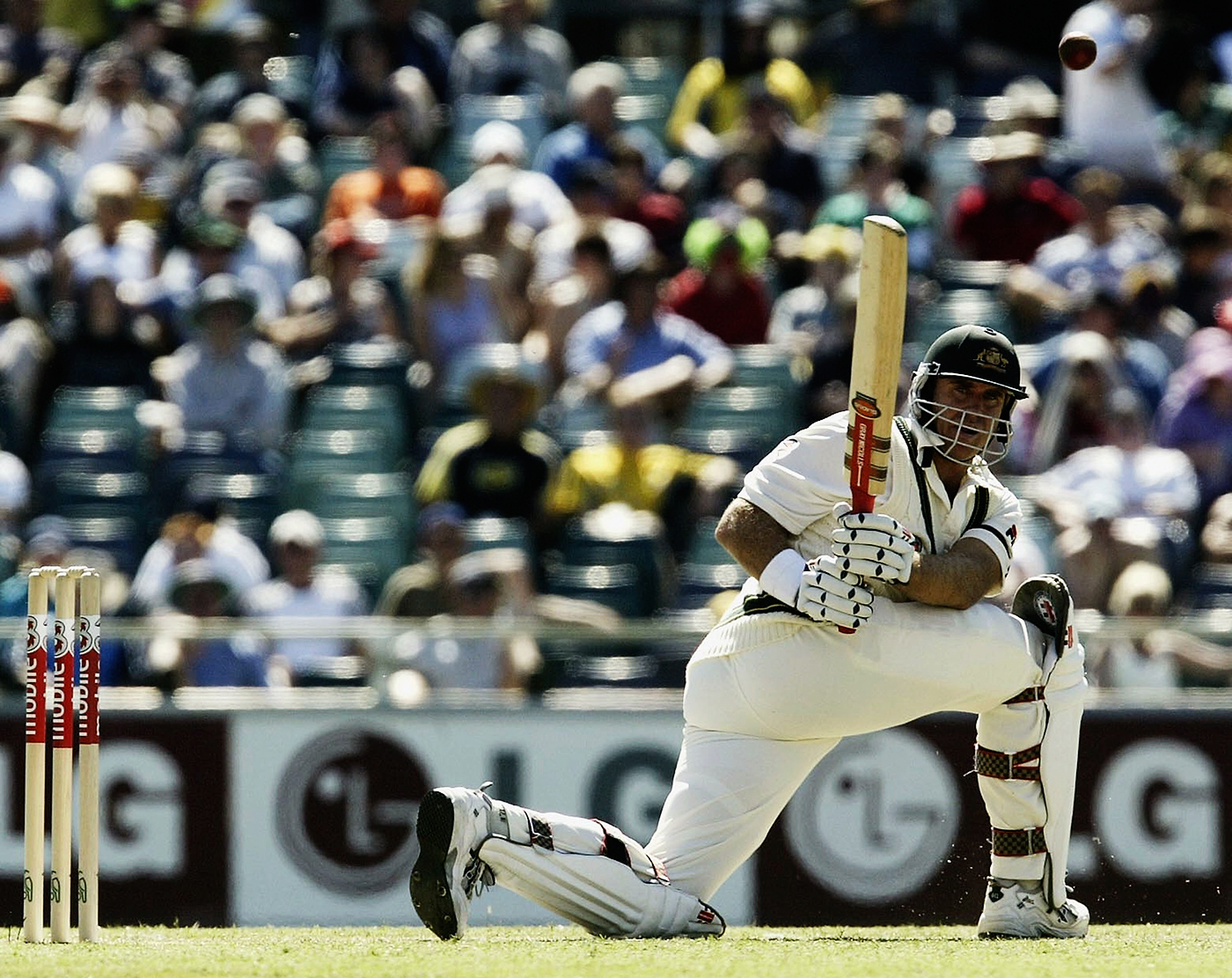 Matthew Hayden on his way to his hundred at the WACA