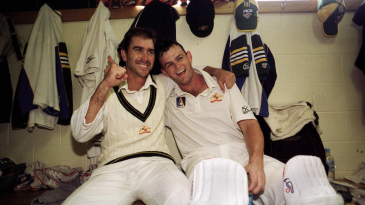 November 1999: Justin Langer and Adam Gilchrist are jubilant after securing victory for Australia against Pakistan in Hobart