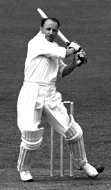 Don Bradman batting, England v Australia, Trent Bridge, June 11, 1948
