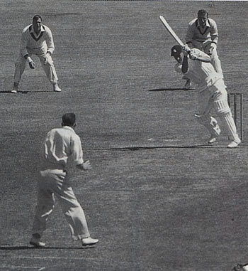 Peter May on his way to a century in the Sydney Test