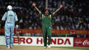 Wasim Akram appeals for a wicket