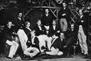 The Eton XI in 1866. Back: THW Pelham, H Gilliat, William Walrond. Middle: William Higgins, RNR Ferguson, Charles Thornton, Edgar Lubbock, Hon WB Barrington, JW Foley. Front:  HM Walter, JC Reiby, June 1866