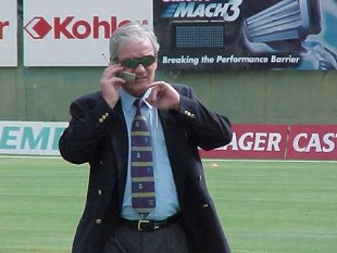 Robin Jackman, now commentating on cricket for television, pictured at Port Elizabeth during the Second Test between South Africa and England (11 December 1999).