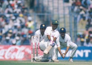 Saeed Anwar sweeps Harbhajan Singh as Mongia looks on, India v Pakistan, Asia Test Championship, Eden Gardens, Calcutta, 16-20