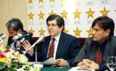 Chairman of selectors Wasim Bari announcing a 15-man team for the 2003 ICC World Cup  in a press conference on Tuesday, 31 December 2002. Also seen in the picture are other members of the selection committee Shafiq Ahmed (left) and Abdul Raqib (right).