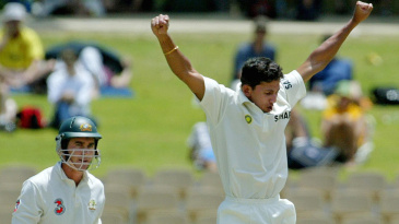 Agarkar gave India the breakthrough, trapping Langer in front