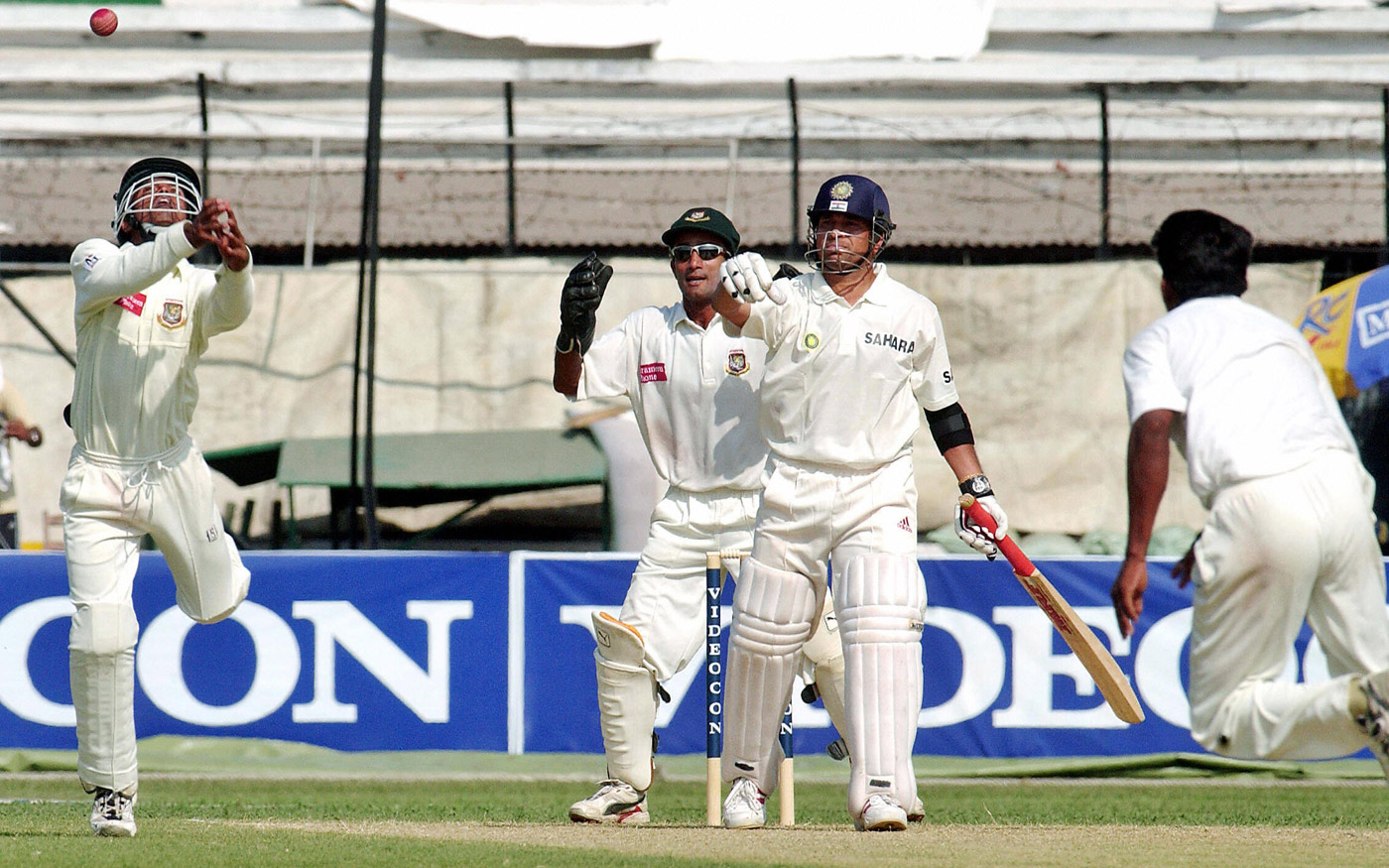 Sachin Tendulkar is dropped by Rajin Saleh at silly mid-off in Dhaka, in the innings in which he made his highest Test score, 248