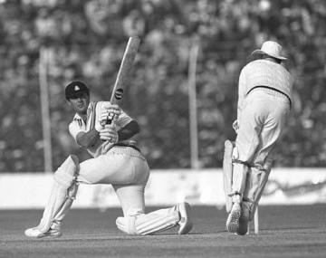 Geoff Boycott sweeps on his way to passing Garry Sobers' world record aggregate of Test runs, India v England, Delhi, December 1981