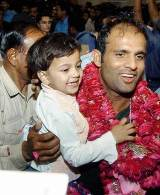 Naved-ul-Hasan returns home after a triumphant tour of India © AFP