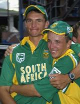 Andre Nel and Boeta Dippenaar look suitably pleased after South Africa clinched the ODI series 5-0 with a win in Trinidad © AFP