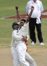 Danish Kaneria celebrates getting back into the groove with a wicket