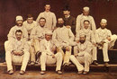 The Australian touring side of 1878.  Back: FR Spofforth, J Conway (manager), FE. Allan; Middle:  GH Bailey, TP Horan, TW Garrett, DW Gregory (captain), AC  Bannerman, HF Boyle; Front:  C Bannerman, WL Murdoch, JM Blackham.