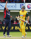 Simon Francis celebrates the wicket of Simon Katich, Somerset v Australians, June 15, 2005