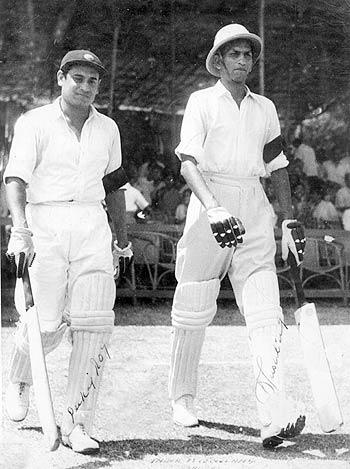 Mushtaq Ali goes out to bat with Pankaj Roy