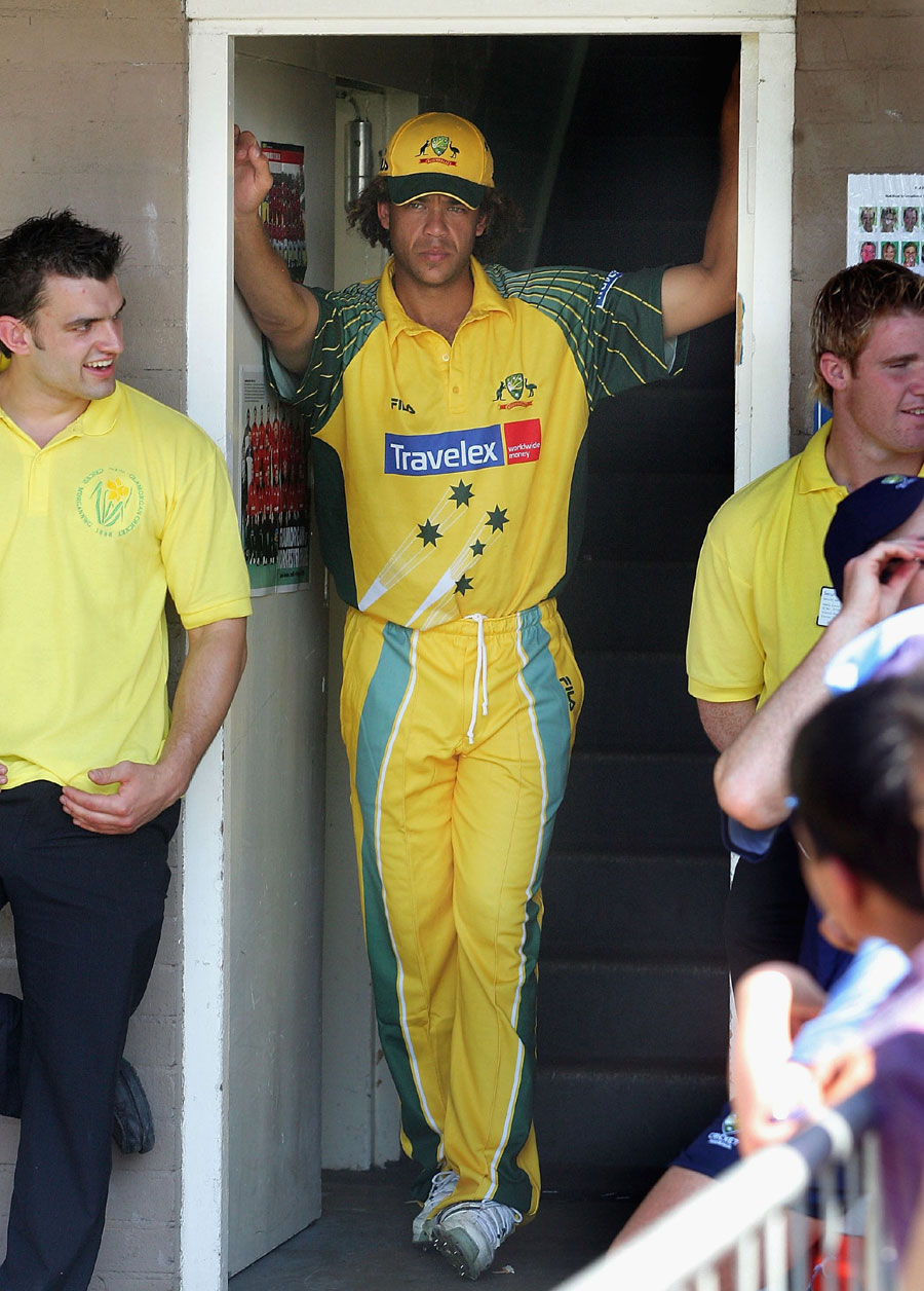 Andrew Symonds sat out the game after turning up to the ground inebriated, but went on to play five other matches in the tri-series, scoring two half-centuries and taking six wickets