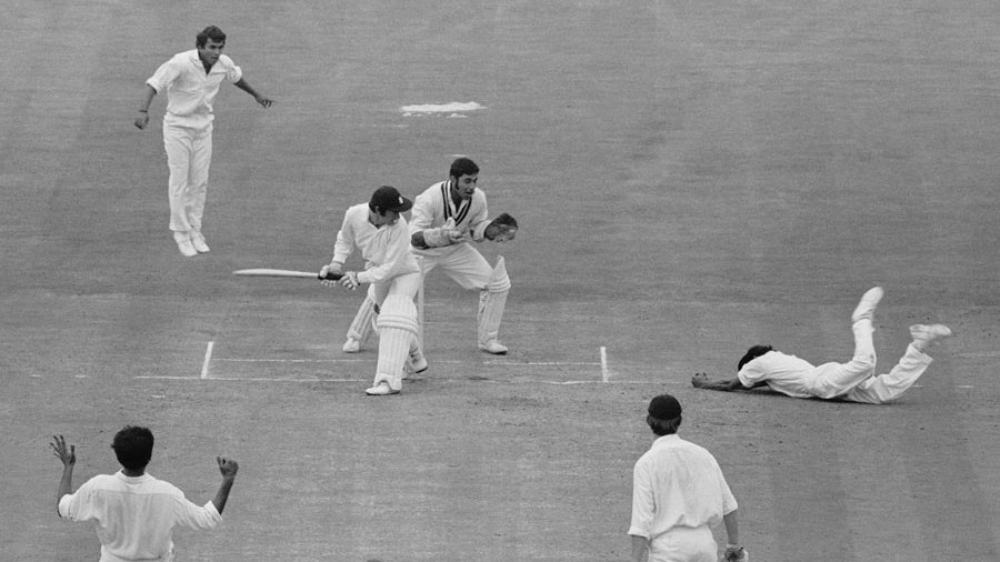 Eknath Solkar takes a brilliant catch to dismiss Alan Knott