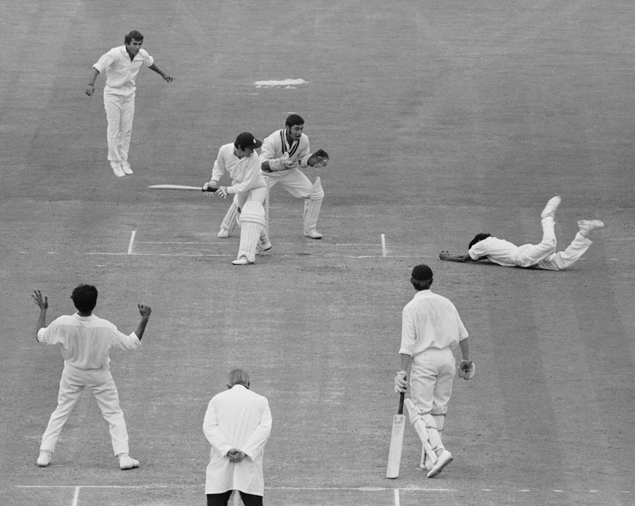 The fall guy: Eknath Solkar, fielding close to the pitch, was crucial to the Indian spinners' success