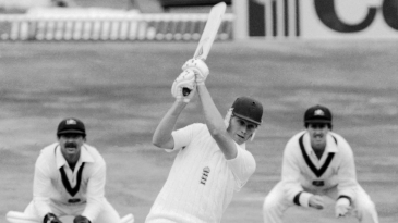 Graham Dilley hits out on his way to 56