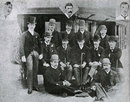 The first MCC side to tour South Africa under the management of Major Wharton  1888-89. Standing: BAF Grieve, AC Skinner, AJ Fothergill, JM Read, R Abel. Sitting: CA Smith, Major Warton, The Hon. CJ Coventry, JEP McMaster, MP Bowden. Front:  JH Roberts, H Wood. Insets: J. Briggs, G Ulyett, F Hearne.