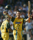 Adam Gilchrist celebrates his 11th one-day hundred, NatWest Challenge, England v Australia, The Oval, July 12, 2005