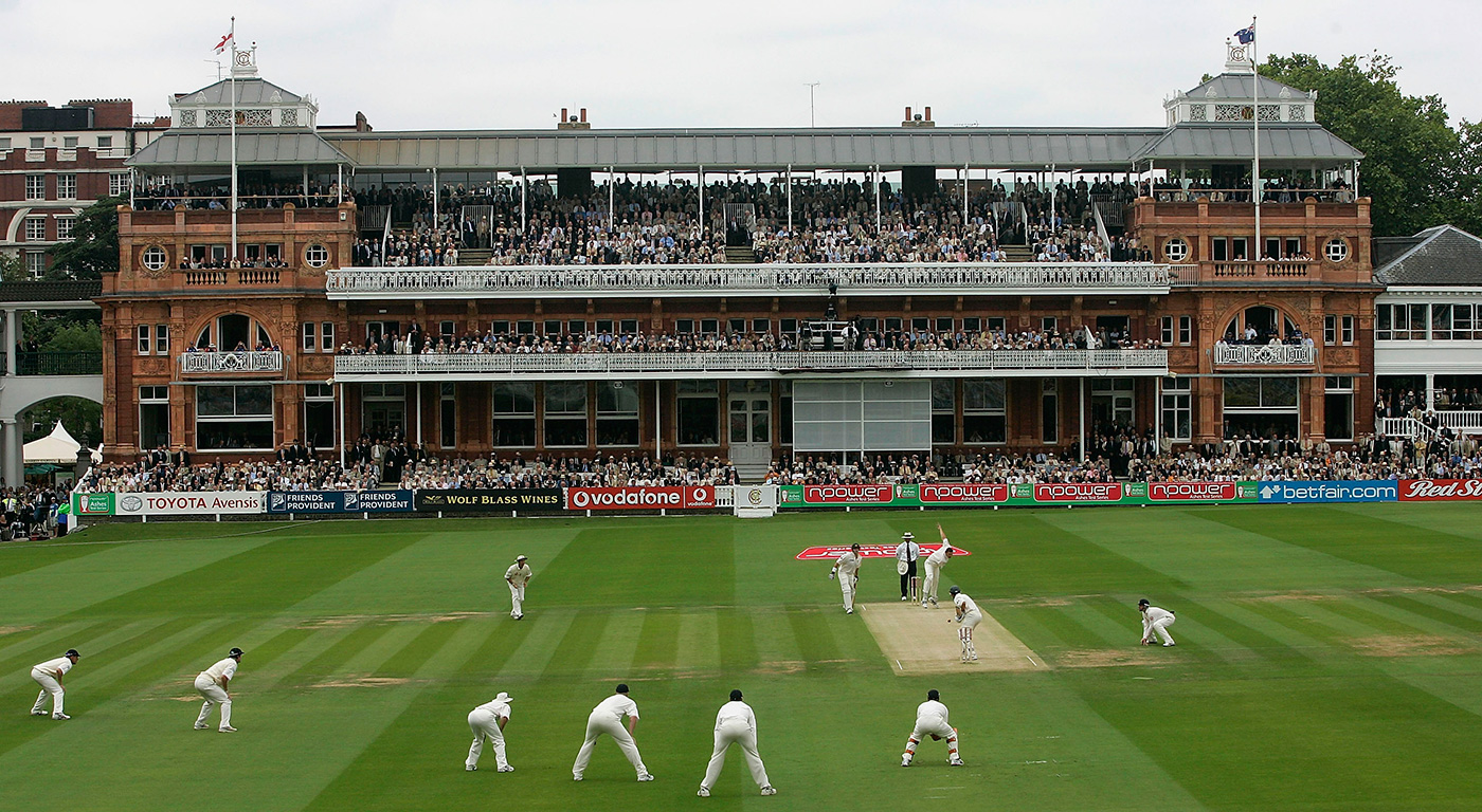 Steve Harmison bowls the first ball of the 2005 Ashes series, to Justin Langer