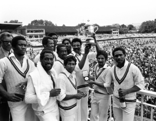 Clive Lloyd lifts the World Cup after West Indies had beaten England in the 1979 final, England v West Indies, Lord's, June 23, 1979