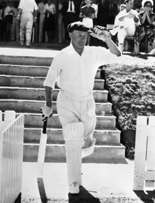Sir Donald Bradman walks out to bat for the final time Australians PM XI v England, Canberra, February 3, 1963