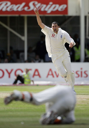 Steve Harmison watches Geraint Jones complete the catch that turned the 2005 Ashes